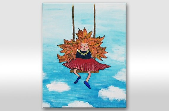 """ORIGINAL PAINTING on canvas. Small artwork with orange hair girl on swings """"In the clouds"""". Girl illustration - Nursery decor-Kid-Child"""