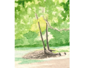 "Landscape Watercolor Painting 3"" x 4"" Miniature Art"