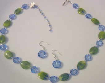 Swarovski RARE 10mm and 12mm Light Sapphire AB with Blue and Green German Glass Necklace and Earrings - signed