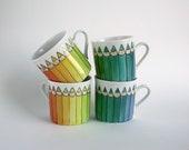 rainbow espresso coffee cup, hand painted, coloured pencils espresso cup