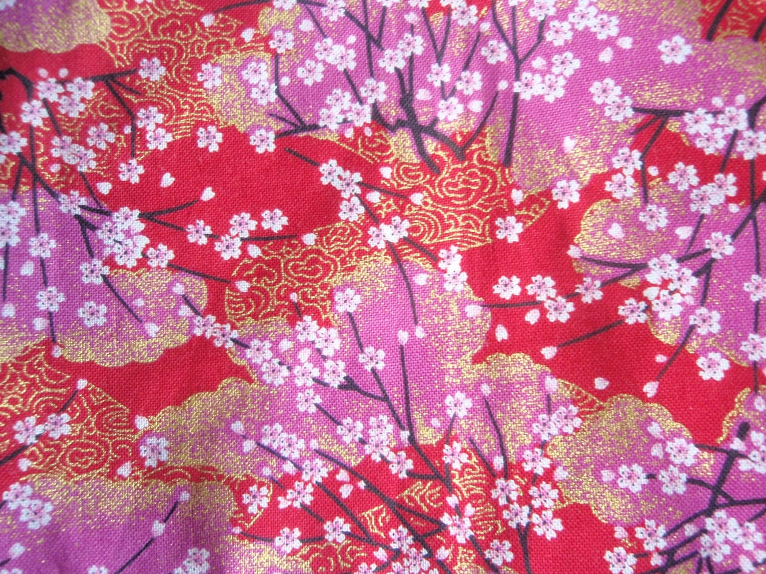 Items similar to Japan Cotton Fabric -Red Kimono Sakura ...