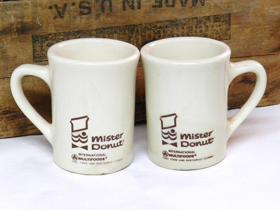 Vintage Set of Two 2 Mister Donut Restaurant ware Coffee Cups Mugs