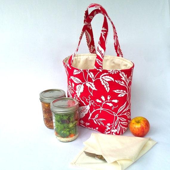 Pint 2-jar bag - Jars to Go red botanical print mason canning jar lunch tote bag carrier