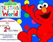 Elmo Inspired Birthday Invitation rainbow, multicolor, primary colors- set of 20