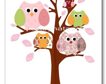 Baby Girl Nursery Decor Baby Room Decor Owls Kids Wall Art Kids Art Nursery Art Prints Baby Art Tree Owls Decor Pink Green Rose