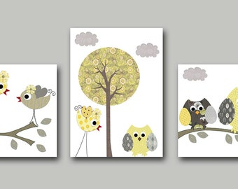 Neutral Nursery Owl Bird Yellow Grey Baby Nursery Decor Kids Wall Art Baby Room Decor Owl Baby Nursery Art Baby Nursery Print set of 3 /