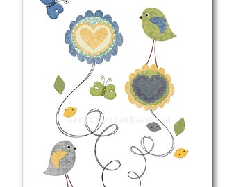 Print for Baby Room Baby Nursery Decor Baby Boy Room Decor Baby Boy Nursery Prints Boy 8x10 Blue Green Yellow Birds Decoration Kids Wall Art