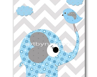 Elephant Nursery Decor Baby Boy Nursery Decor Baby Nursery Print Boy Art Children Art Print 8x10 Elephant Gray Blue Baby Art Prints