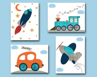 Car Nursery Rocket Nursery Baby Boy Nursery Decor Children Art Print Baby Nursery Print Set of 4 Plane Nursery Train Nursery Gray Blue /