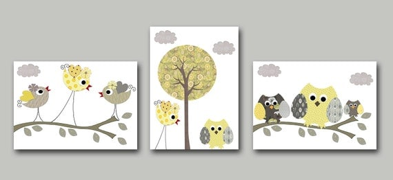 Neutral Nursery Owl Bird Yellow Grey Baby Nursery Decor Kids Wall Art Baby Room Decor Owl Baby Nursery Art Baby Nursery Print set of 3 /