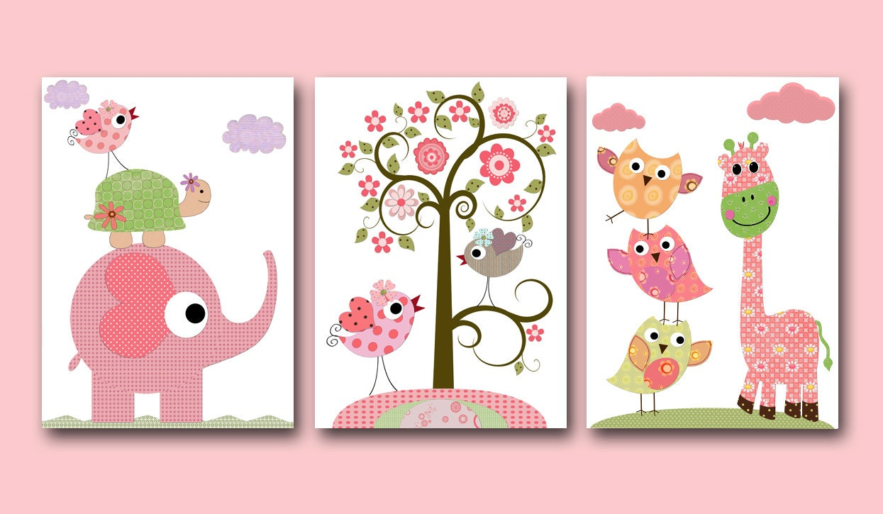 Children 39 s art kids decor baby girl room decor by artbynataera for Room decor etsy