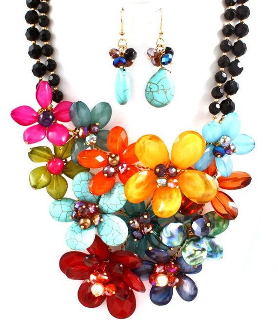 Multi Color Flower Necklace