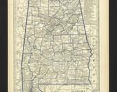 Vintage Map Alabama From 1930 Original