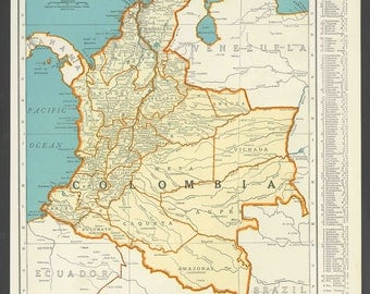 Vintage Map of Colombia From 1937 Original