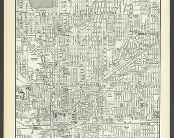 Vintage Street Map Indianapolis Indiana From 1937 Original