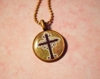 Cross penny necklace