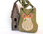 "Owl Small Quilted and Embroidered Shoulder Bag Cross Body Fabric Purse ""Celeste"" in olive green and brown"