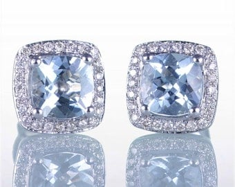 White Gold Diamond Cushion Cut Aquamarine Halo Stud Earrings