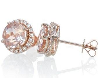 14 Karat Rose Gold Diamond Halo Jacket Round Morganite Earrings