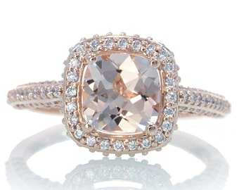 14 Karat Rose Gold Cushion Cut Morganite Diamond Halo Engagement Wedding Anniversary Ring