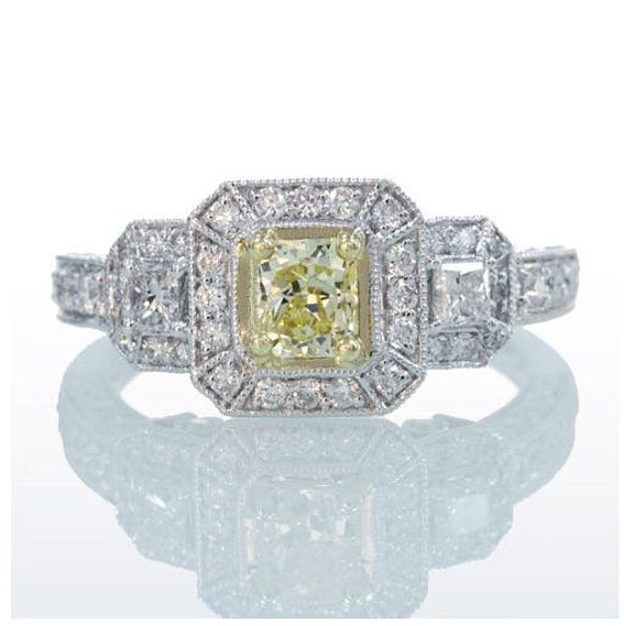 18 Karat White Radiant Cut Yellow Diamond Engagement Wedding Anniversary Ring