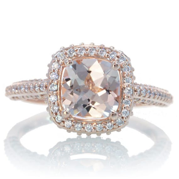 14 Karat Rose Gold Cushion Cut Morganite Diamond Halo