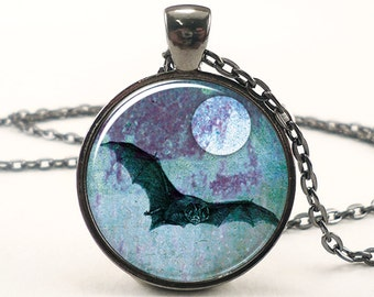 Black Bat Necklace, Halloween Bat With Full Moon Pendant, Goth Jewelry (0872G1IN)