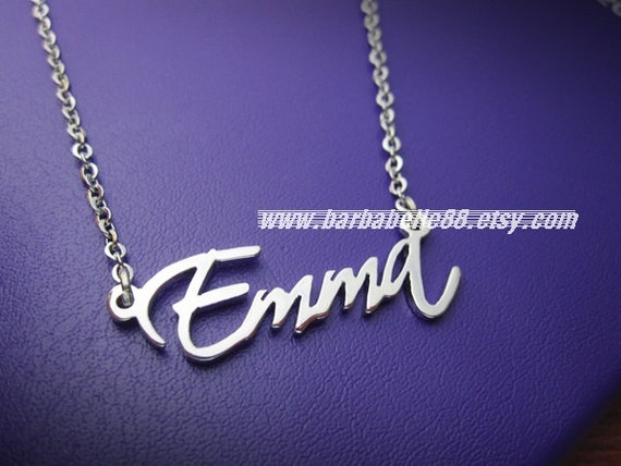 white gold plated personalized any name necklace by