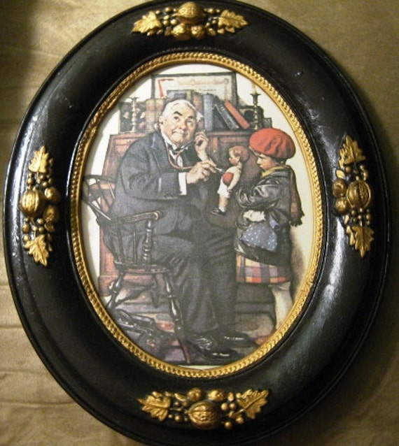 RESERVED for FILAKIA29 Norman Rockwell Doctor with Doll and Child 1970s Litho Professionally Framed