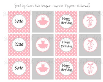 Tutu Ballerina Party- Cupcake Toppers