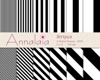 INSTANT DOWNLOAD Digital Paper Pack Black White Vertical Diagonal Stripes Lines Printable Scrapbook Paper 12x12 8,5x11 Commercial Use 008