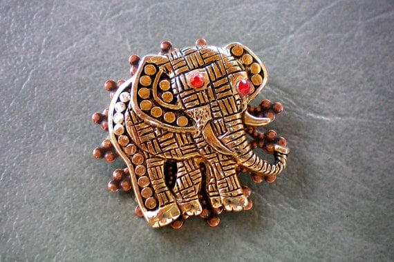 Orange eyed patchwork and polka dotted elephant pin or brooch.  Recycled and ONE OF A KIND