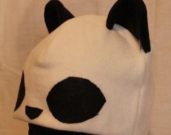 Panda Fleece Hat - WHITE & BLACK
