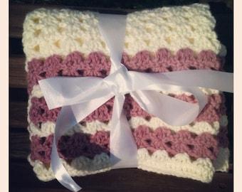 Ivory Crochet Blanket with Rose Stripes, Handmade Lap/Stroller Blanket