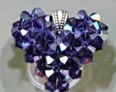 Juiced Swarovski Heart Charm, Bling Necklace, Purple Jewelry, Swarovski Crystal Floating Puffed Heart Necklace, Purple Pendant, Fall Jewelry