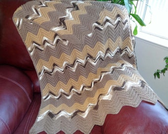 Crocheted Afghan Handmade in Shades of Brown and Off White Ripple Pattern