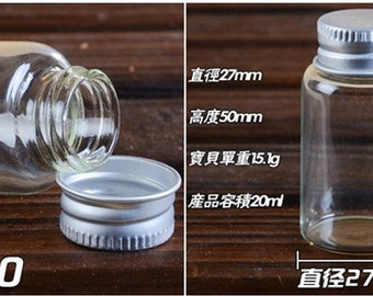 10pcs 27x50mm Small Clear Glass Bottle Vial Charm Pendant - Glass Bottle with Aluminum Cap