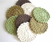 Crochet Coasters - Set of Eight - Neutral Colors