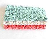 Crochet Wash Cloths - Crochet Dish Cloths - 100% Cotton - Set of Three - Crochet Washcloths - Crochet Dishcloths - Bathcloths
