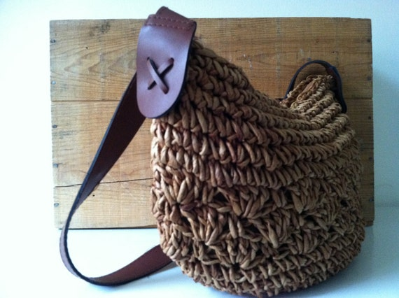 Large Cross Body Mocha Brown Woven Sisal Market Bag with Zipper Closure
