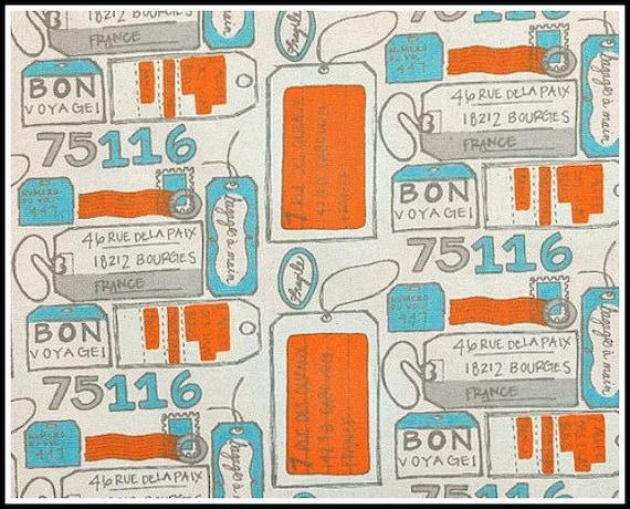 1 yard Air Mail Mandarin / Dosset -  Premier Prints  - Blue Orange Gray - HOME DECOR