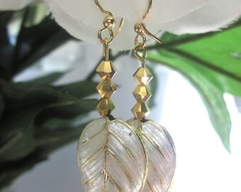 Earrings- Cloisonne Leaf, Gold Swarovski Crystals, Fall Jewelry, Sparkle, Dangling, Handmade Jewelry