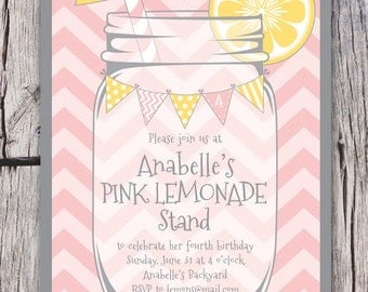 Pink Lemonade Invitation Printable - Chevrons - Mason Jar - Bunting - Lemonade Stand Birthday Party Invite - Bridal Shower -