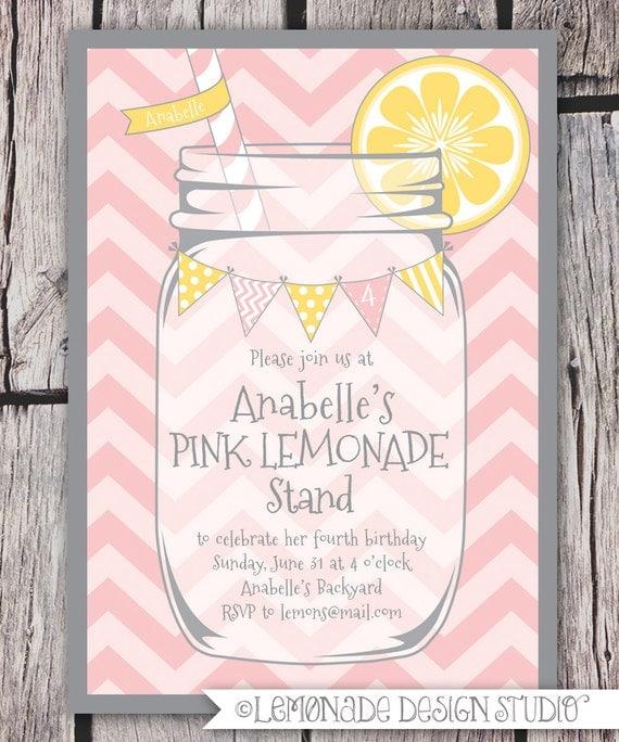 Pink Lemonade Invitation Printable - Chevrons - Mason Jar - Bunting - Lemonade Stand Birthday Party Invite - Bridal Shower -