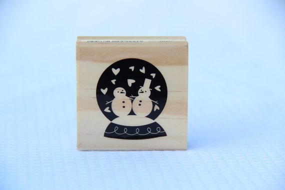 Set of 2 Stamps Christmas In July Wood Rubber Stamp Snowman Christmas Tree