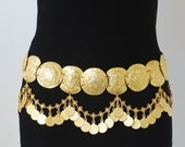 Metal belt with coin, gold plated belly dance belt