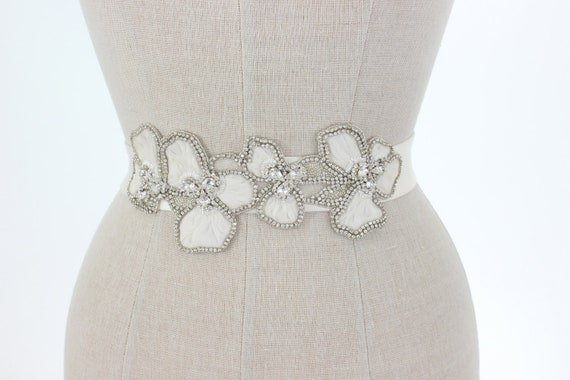 Beaded Wedding Belt Bridal Sash, Rhinestone Floral Art Deco Ivory Crystal Flower Accessories Vintage Old Hollywood, Camilla Christine MARION