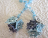 Handmade Baby Blue Natural Stone Flowers Crochet Necklace