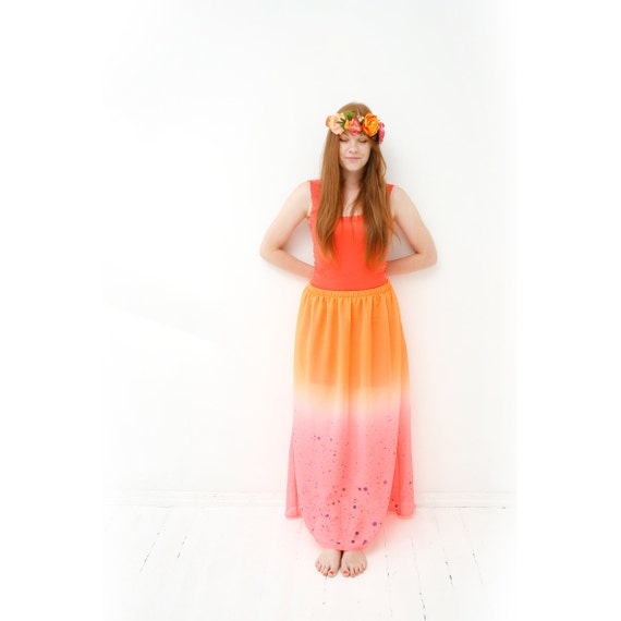 Grapefruit- neon orange & pink maxi skirt with delicate dark blue color splashes