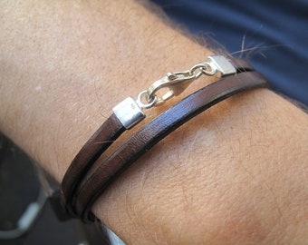 Classic Italian double wrap chocolate brown leather and silver bracelet